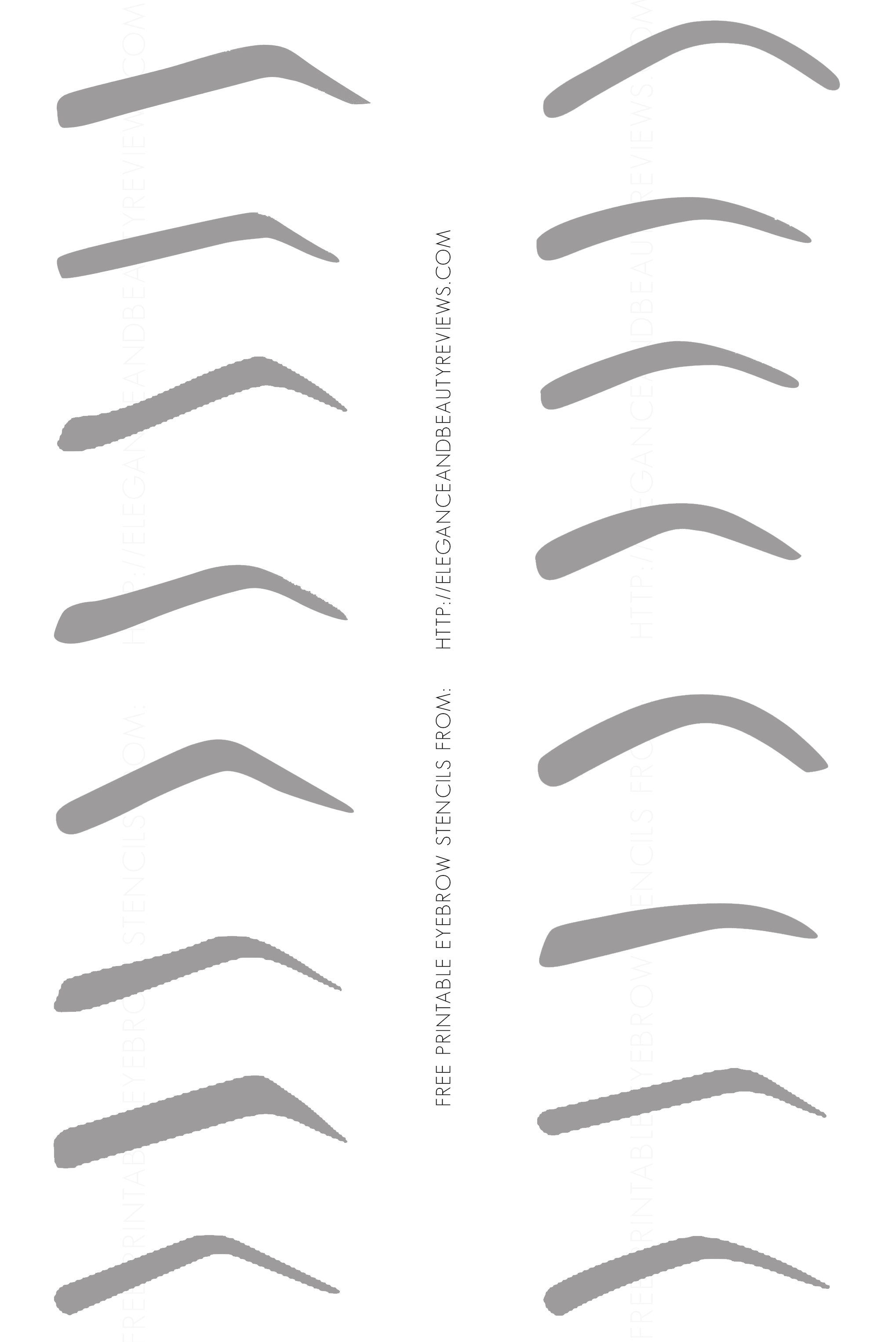 free printable eyebrow stencils With printable eyebrow stencil template