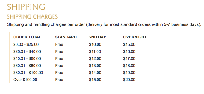 FREE Shipping and handling charges per order