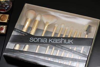 sonia kashuk box brushes Sonia Kashuk Makeup Brush Review   10 Brush Review Gold Limited Edition