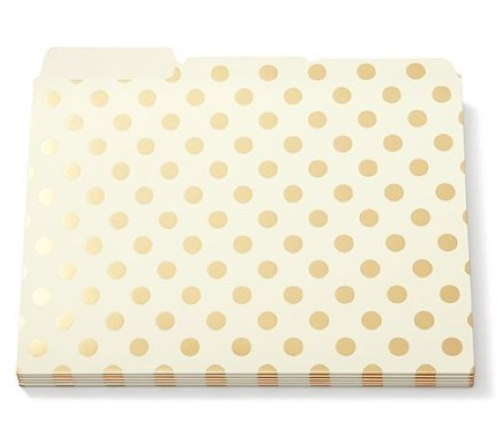 Kate Spade Gold Foil Dots File Folders set of 6