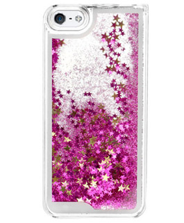 pink glitter water cell phone case