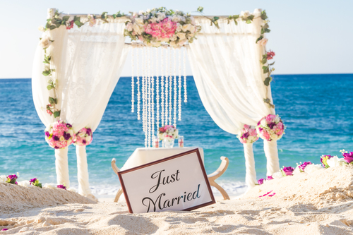 beautiful beach wedding reception