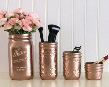 painted mason jar makeup brush holders