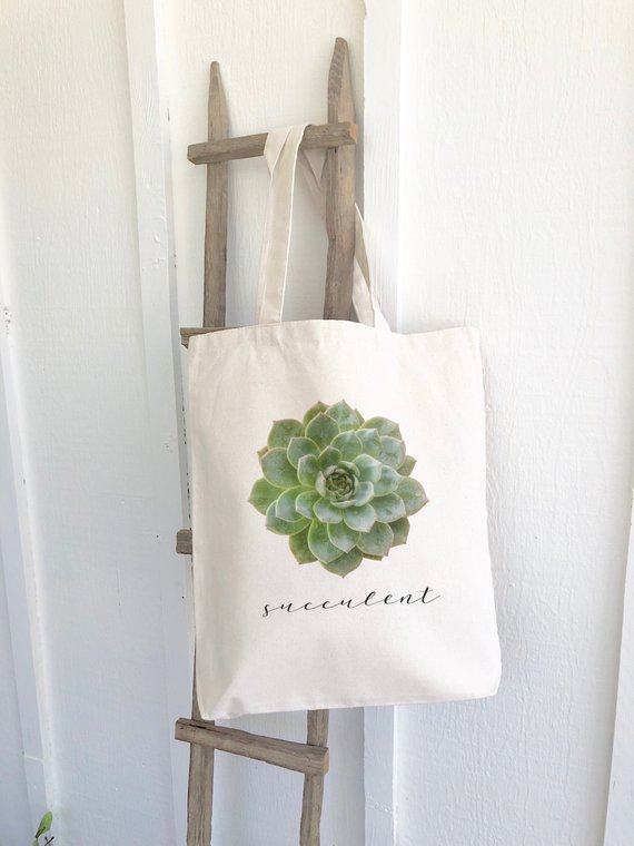 succulent tote reusable bag gift