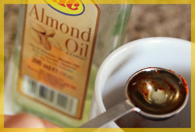 Almond oil into the facial
