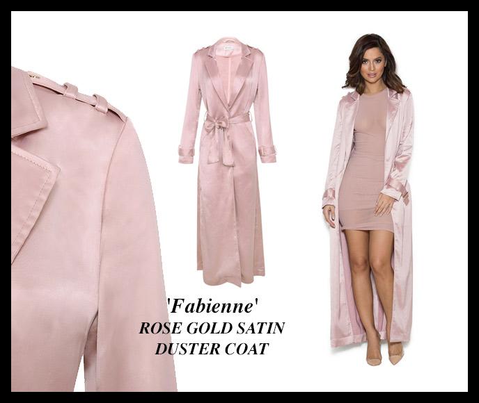 'Fabienne' ROSE GOLD SATIN DUSTER COAT