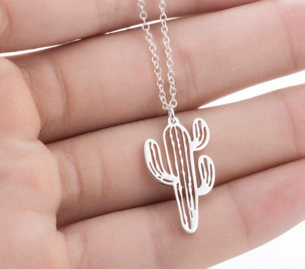 cactus necklace silver