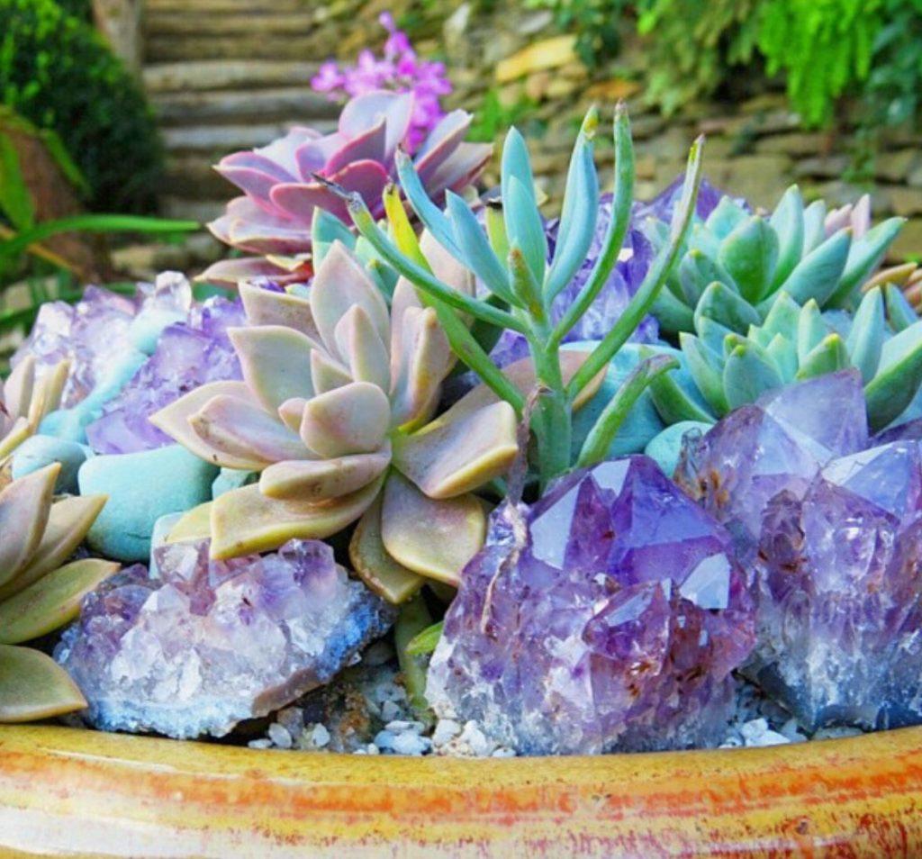 crystals for succulent pots