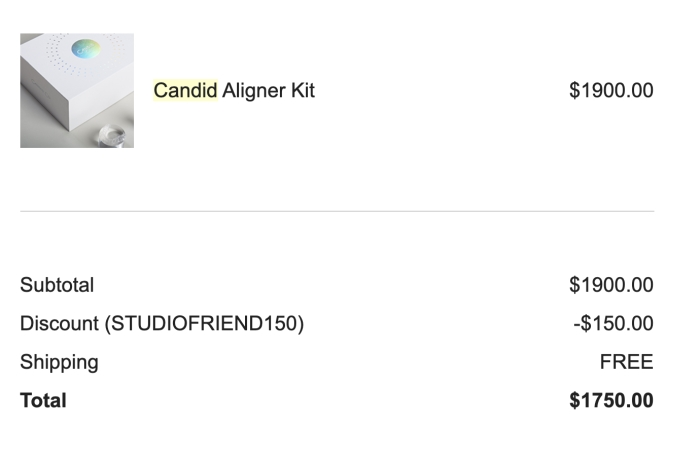 how much did Candid Co aligners cost?
